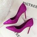Novas Mulheres Bombas Clássicos Sapatos De Salto Alto Moda Camurça Rebanho roxo Sexy Magro Apontou OL Escritório de Singles Sapatos de Salto Alto 34 G516-1