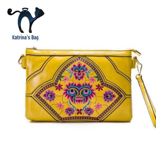 2015 National Women Clutch Bags Designer Brand Small Women Leather Messenger Bags Ethnic Embroidered Shoulder Handbags ethnic embroidered black cami dress for women