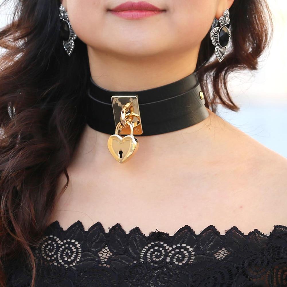 Coeur de verrouillage pendentif collier avec 2 clés Faux cuir nuit-4842