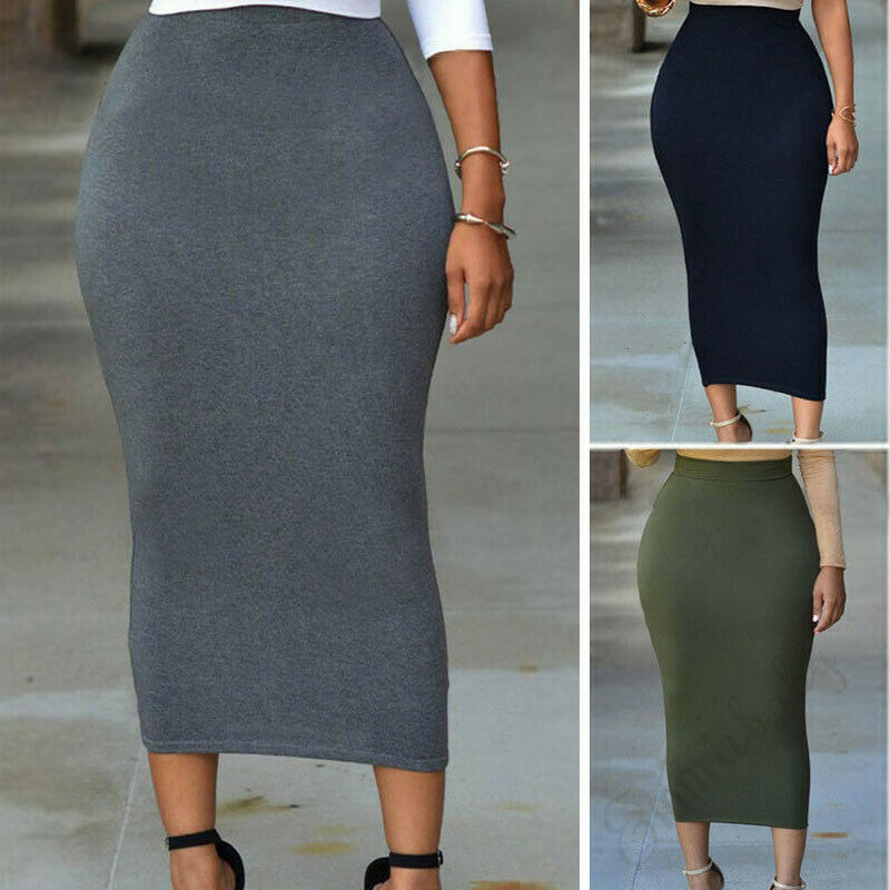 Muslim Thin Skirt Bodycon Slim High Waist Stretch Long Midi Women Pencil Skirt