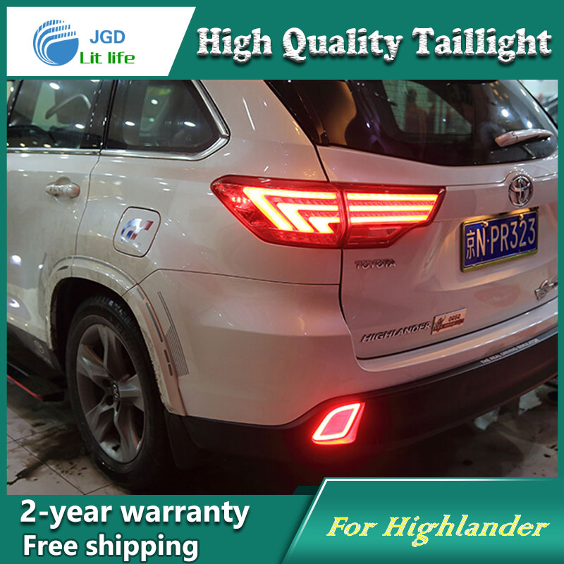 high quality car styling 35w led car tail light for Toyota Highlander 2015 tail lamp DRL+Signal+Brake+Reverse lamp
