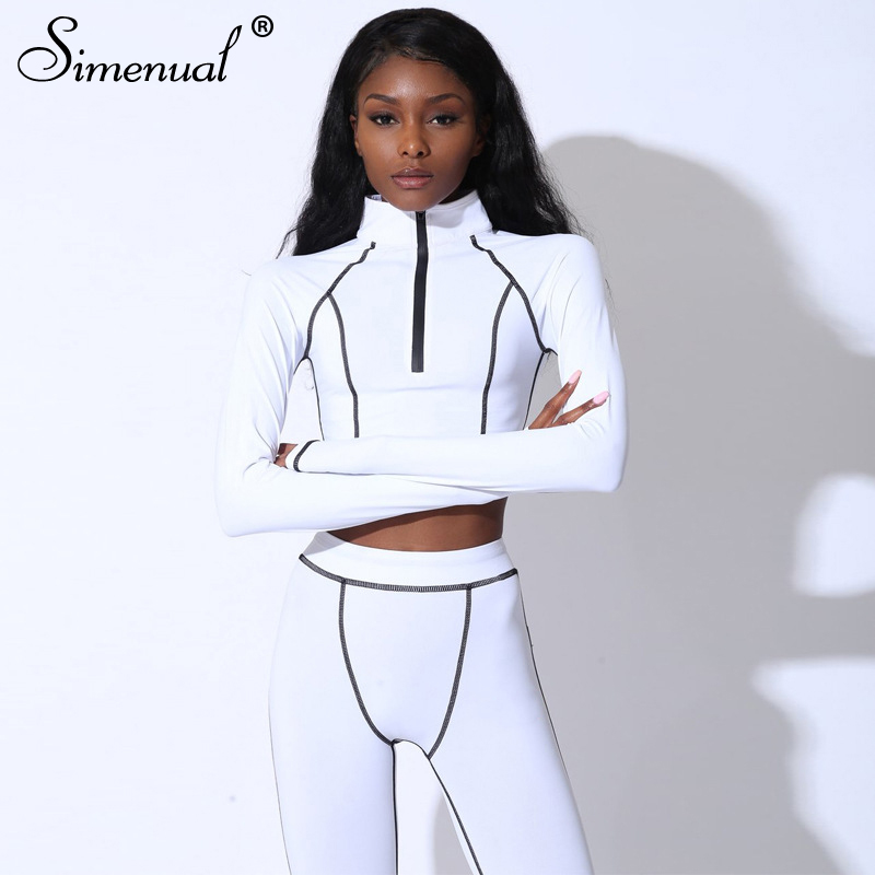 Simenual Tracksuits Leggings-Sets Active-Wear Sporty Fitness 2piece-Set Fashion Women