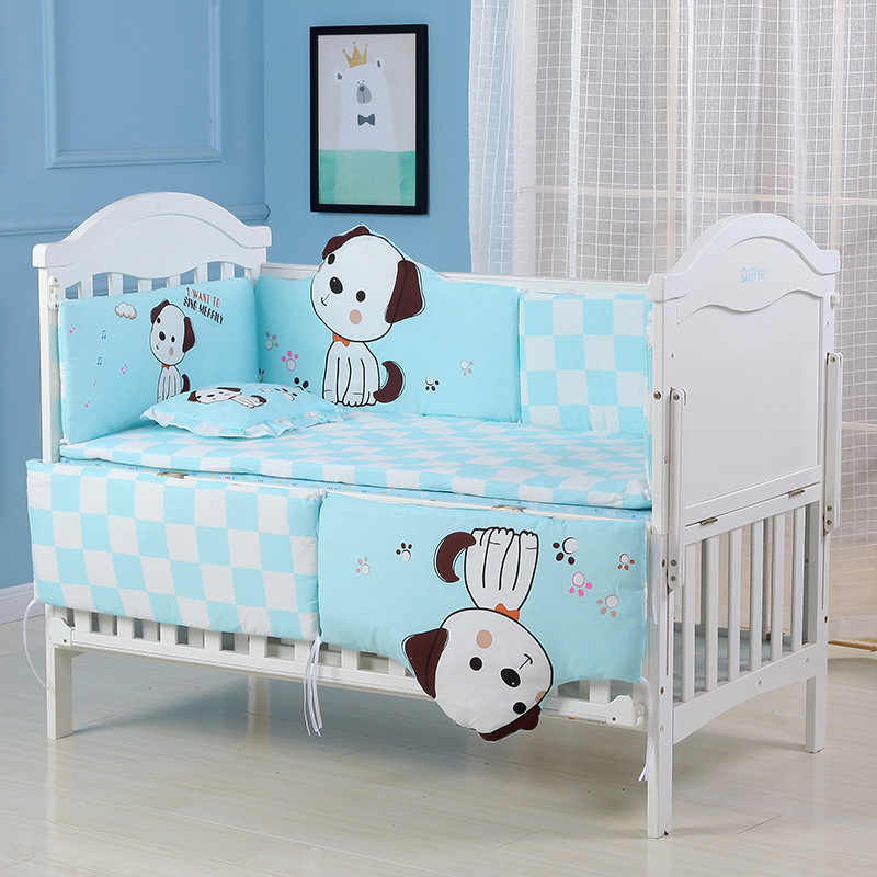 5pcs Toddler Pure Cotton Baby Bed Bumper Crib Bumper Infant Room Decor Newborn Knotted Crib Bumper Cartoon Bed Braid Protector