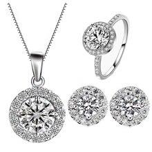 Hot 2016 conjuntos de jóias de casamento de luxo AAA zircão Bague noivado anel + brinco + pingente de presente acessórios de moda do Vintage