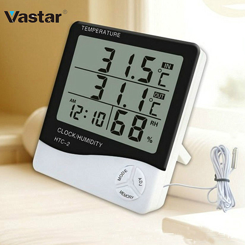 Vastar LCD Electronic Digital Temperature Humidity Meter Indoor Outdoor Thermometer Hygrometer Weather Station Clock HTC-1 HTC-2 Метеостанции