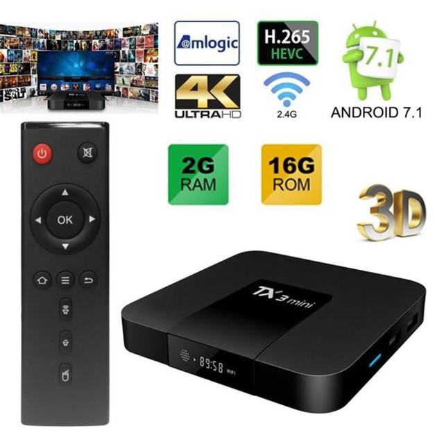 AKASO TX3 Mini Android 7.1 TV Box 4K HDMI HD TV Box S905W 1GB 8GB 2.4GHz WiFi Media Player Mini TX3 Set Top Box High quality
