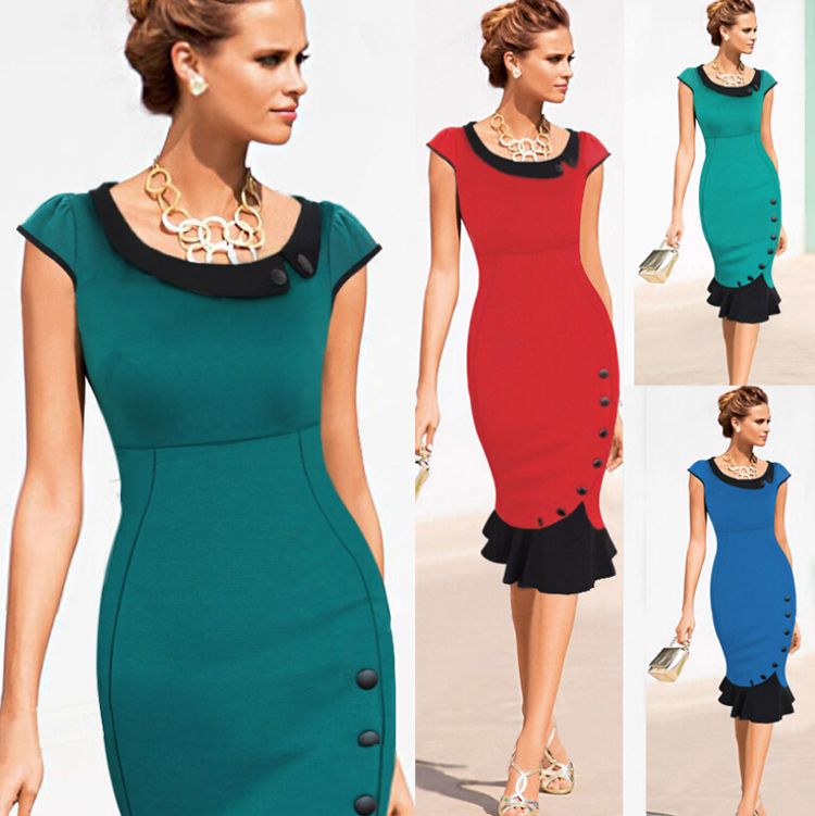 Women Work Casual Dress Elegant Lady Career Office Wear To Evening Party Mermaid Midi Pencil Wiggle Dresses Wl2373 In From S
