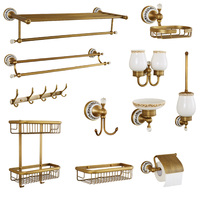 European antique bathroom hardware fittings brass blue and white porcelain double tooth cup bathroom suite