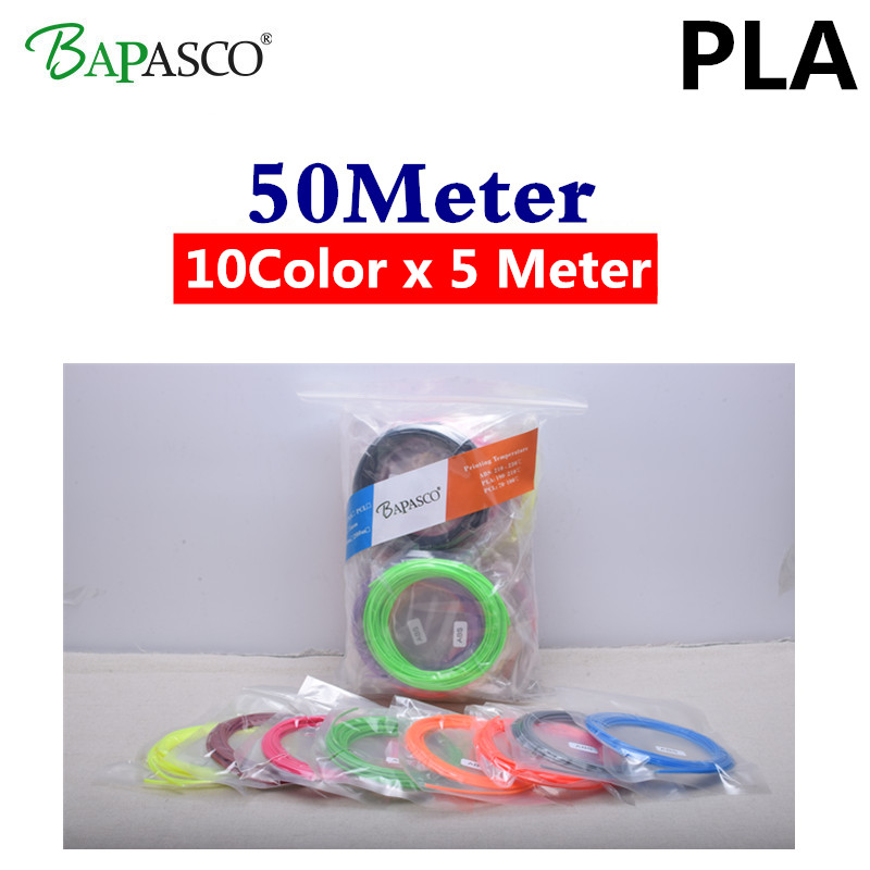 wholesale 3D Filament 50M PLA 1.75mm 3D Printer Filament Materials for 3D Printing Pen and 3D Printer 3d thread linear wire rod high quality smooth pla materials 1 75 mm 3d print filament for 3d printer or 3d printing pen pla filament free shipping