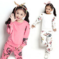 Brand 2017 Spring Autumn Girls Tracksuit Kids Clothing Set Floral Shirts + Pants Two-piece Sports Suits Sweatshirt for Girls