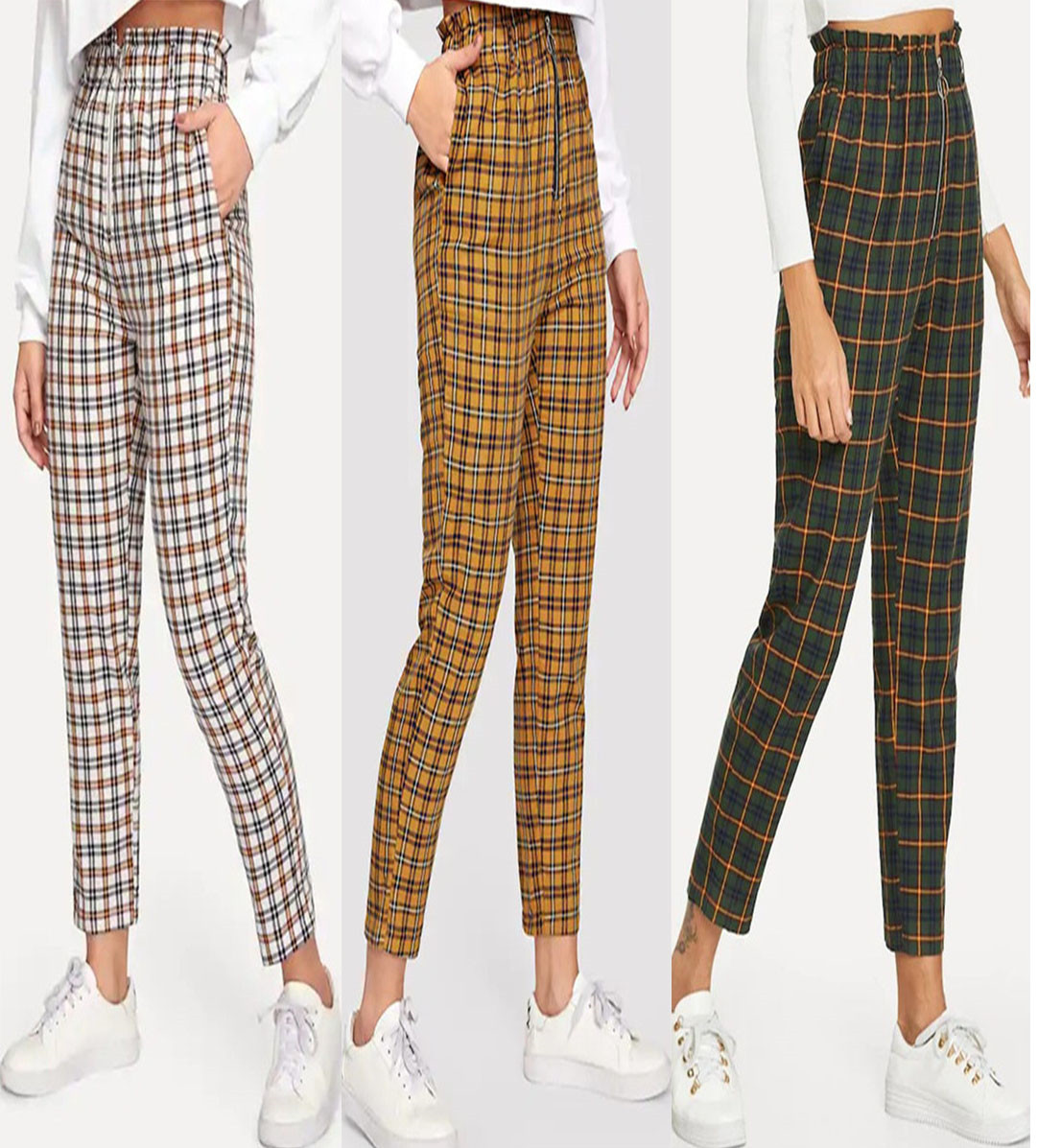 Streetwear Cargo   Pants   Women Casual Plaid Joggers High Waist Female Trousers Ladies Ankle-length   Pants     Capri   PT009