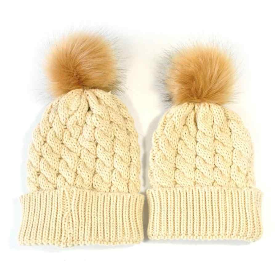 2 Pcs แม่เด็กทารกฤดูหนาวที่อบอุ่นถักหมวกขนสัตว์ Pom Pom หมวกถักหมวกสกีน่ารักเก็บหมวกอุ่นเหมาะสำหรับ 0-5 เดือน #1