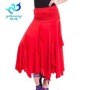 Image 5 - Free Shipping Ballroom Waltz Dance Skirts Modern Standard Tango Salsa Samba Rumba Practice Costumes Elastic Waistband #2547