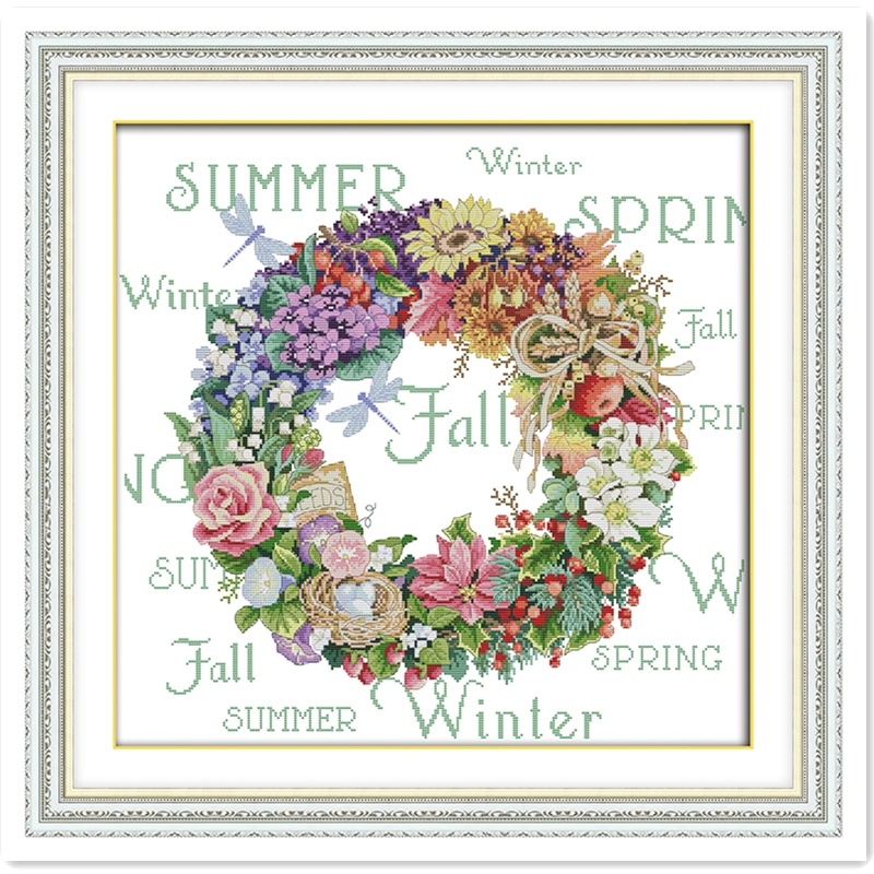 Wreath Of All Seasons (5) 11CT Printed On Canvas DMC Cross Stitch Fabric DIY Set Chinese Counted Cross Stitch Pattern Home Decor