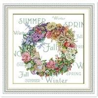 Wreath Of All Seasons 5 11CT Printed On Canvas DMC Cross Stitch Fabric DIY Set Chinese