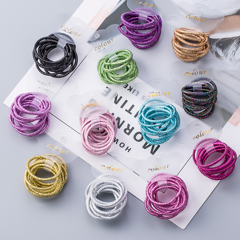 10PCS/Lot Cute Girls Colourful Elastic Hair Bands Tie Gum For Scrunchies Kids Hair Ropes Baby Headband Headwear Hair Accessories awaytr korean hairband for women girls cute headband cat ears hair hoops with sequins hair accessories party birthday headwear