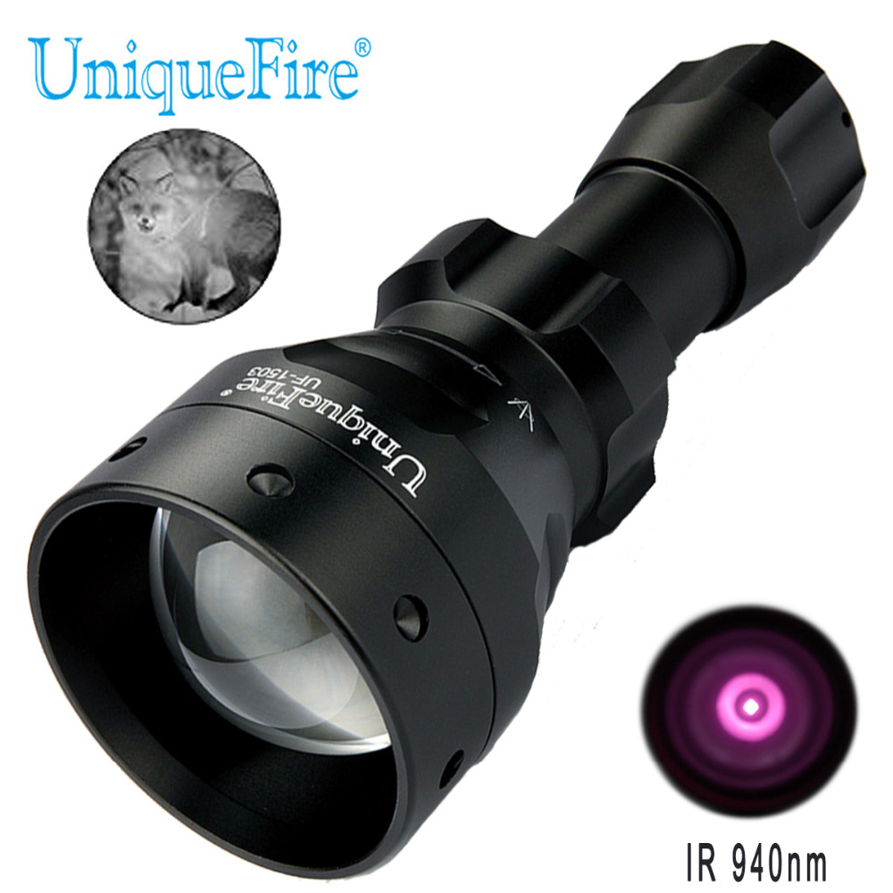 UniqueFire 1503 IR 940nm Led Flashlight Night Vision Torch Zoomable Adjustable Focus 50m Convex Lens for