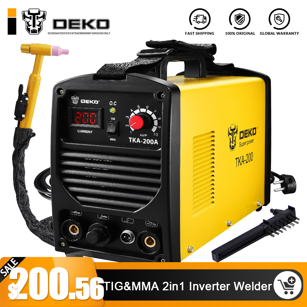 DEKO TKA-200 200A 5.8KVA IP21S Inverter Arc TIG 2 IN 1 Electric Welding Machine MMA Welder for Soldering Working
