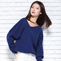 zocept Women's Hhigh Quality Cashmere Blended Sweater Autumn Winter Fashion Knitted Loose Front Back V-Neck Solid Color Pullover