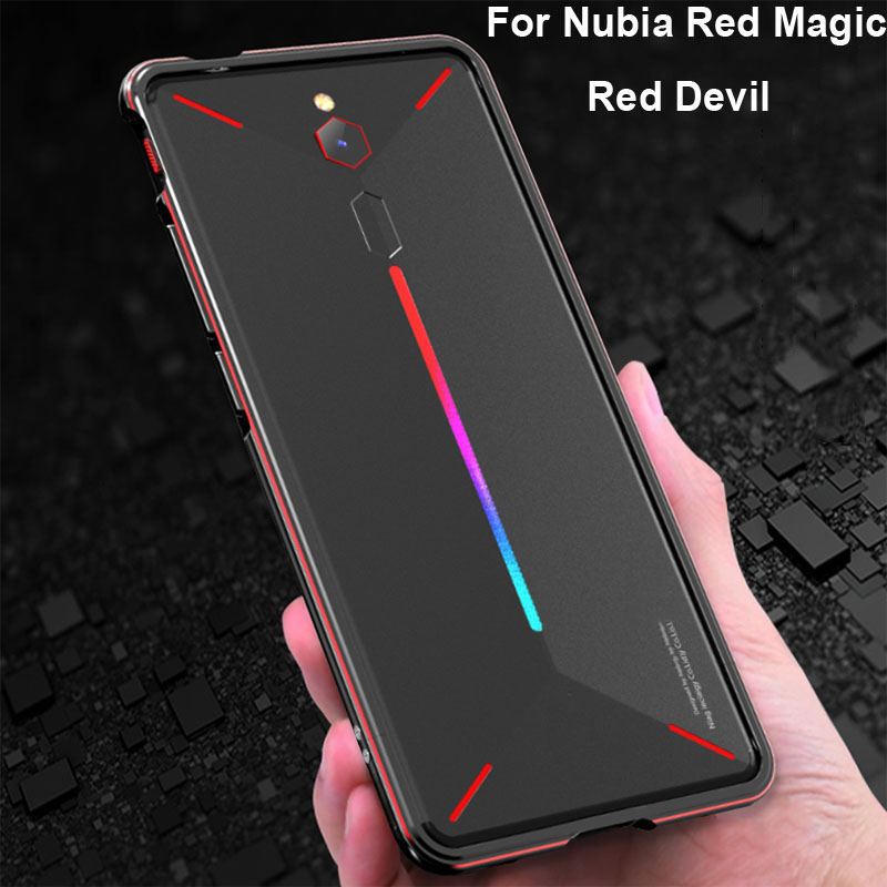 Luxury Original Brand Aluminum Metal Bumper 6.0'' For Nubia Red Magic Red Devil Metal Cases Cover Column Shape Frame NX609J Phone Bumpers     - title=