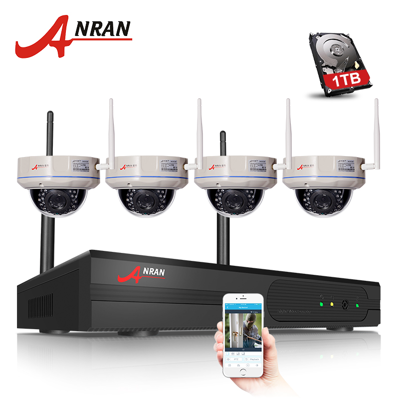 ANRAN Plug And Play CCTV System 4CH H.264 Wireless NVR Kit 4PCS 720P 1.0MP HD Vandal-proof Dome WIFI Security Camera System narinder kumar sharma h p singh and j s samra poplar and wheat agroforestry system