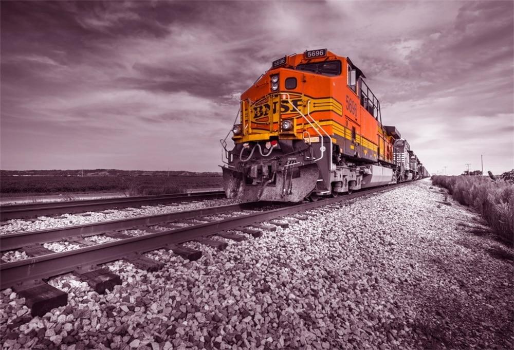 Laeacco Old Train Railway Stone Portrait Scene Photography Backgrounds Customized Photographic Backdrops For Photo Studio