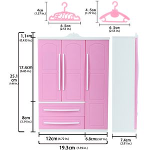 Image 4 - High Quality Pink Wardrobe for Barbie Doll + 10x Hanger Plastic Mini Dollhouse Bedroom 1:6 Cute Furniture Accessories Kid Toy