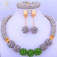 Gorgeous African Costume Jewelry set choker for women Balls Grey Green jewellery sets Round african beads necklace jewelry set
