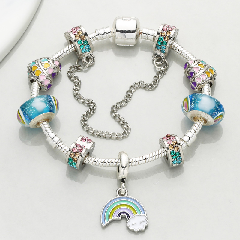 CHIELOYS Summer Style Rainbow Charm Bracelets For Women with Colourful Murano Beads Snake Chain Pandora Bracelet Jewelry Gift