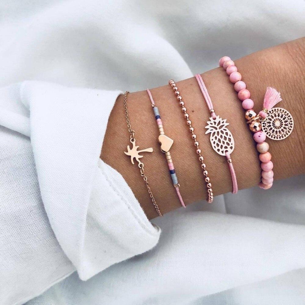 2019 Boho Charm Bracelets & Bangles Set Bohemian Vintage Beaded Multilayer Bracelets For Women Fashion Jewelry Wrap Accessories 2