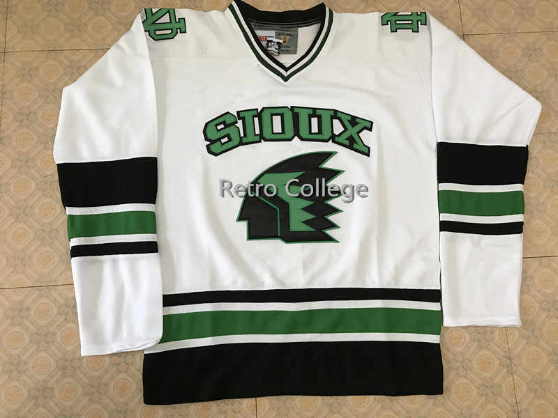050e6454c North Dakota Fighting Sioux University White Men s Hockey Jersey Embroidery  Stitched Customize any number and name