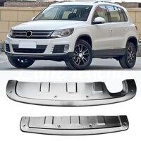 for Volkswagen Tiguan 2013 2014 2015 2016 front stainless steel chrome rear bumper protector non slip sheet