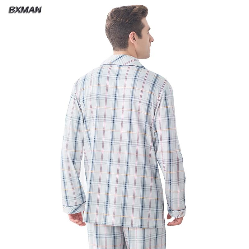 757aef2d7f BXMAN Marca Hombres Pijamas Conjuntos de Pijamas Primavera 95% Algodón A Cuadros  Dan Vuelta abajo Encuadre de cuerpo entero en De los hombres pijama ...
