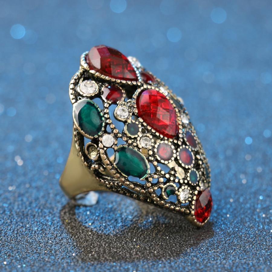Kinel Fashion Turkey Vintage Nakit Veliki emajlirani prstenovi za - Modni nakit - Foto 4