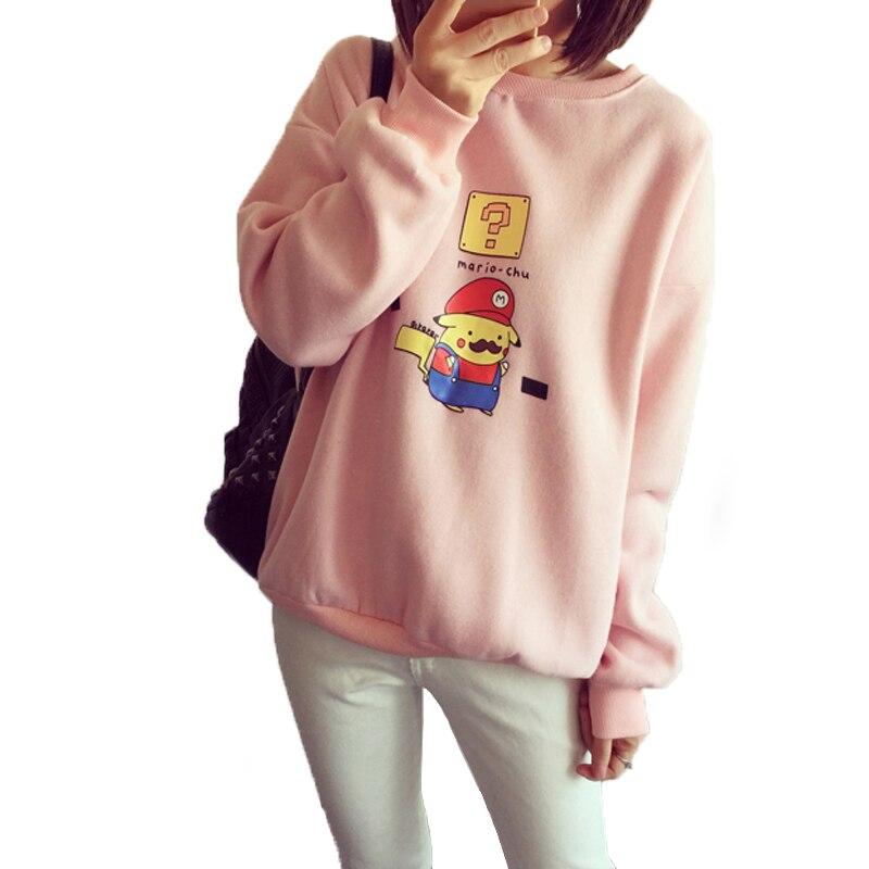 Harajuku Pikachu Hoodie Mario Sweatshirt Women Fleece Sudaderas Mujer 2018  Pullover Hoodies Long Sleeve Moletom Feminino T115-in Hoodies & Sweatshirts  from ...