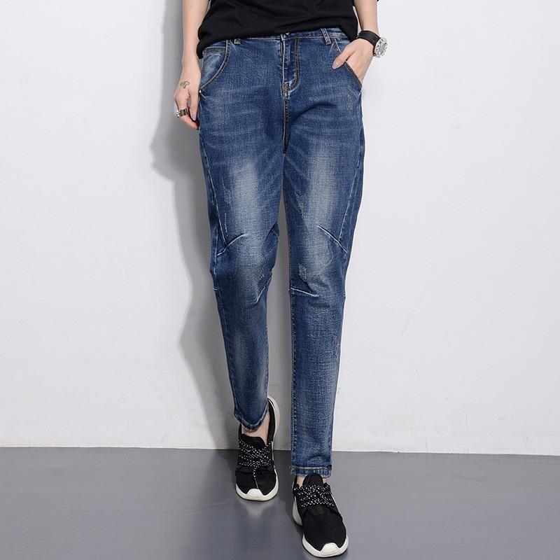 ФОТО Boyfriend Jeans For Women 2016  Casual Mid Loose Vintage Denim Harem Pants  Baggy Jeans Plus Size Woman Jeans M034