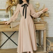 Высокое качество, весна, горячая Распродажа, элегантное женское длинное платье с воротником Питер Пэн и бантом, абрикосовое