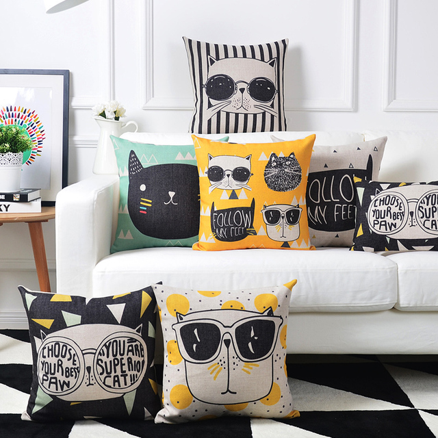 Awesome Drop Ship Glasses Cut Cat Cushion Home Decor Pillow Linen Cotton Cushions  Decorative Throw Pillows 45X45CM