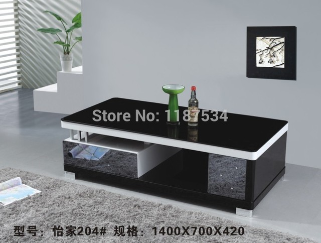 204 Black And White Wooden Modern Living Room Furniture Tea Table Coffee Gl