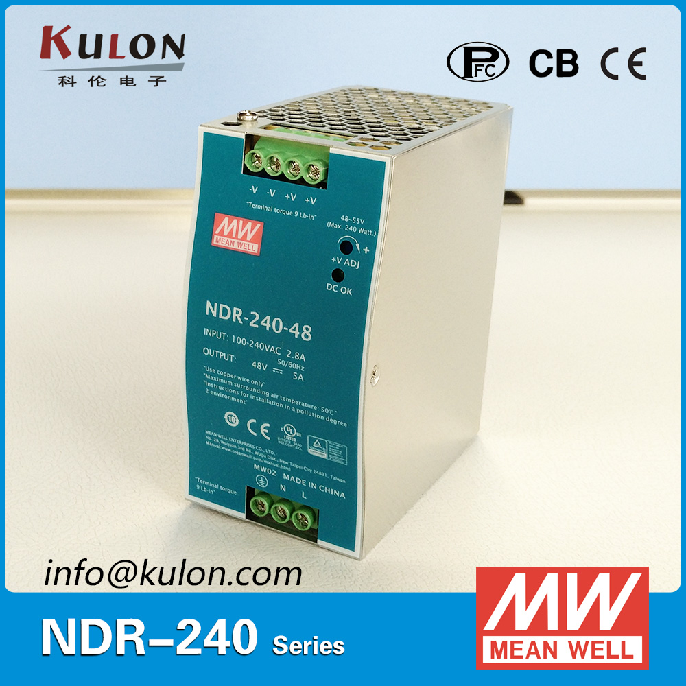 Genuine MEAN WELL NDR 240 48 Single Output 240W 48V 5A Industrial DIN Rail Mounted Meanwell