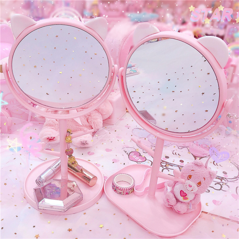 Pink Cat Flat Makeup Mirrors Desktop Oval Small Portable Dressing Pink Princess Mirror Personalize Mirror With Storage Box