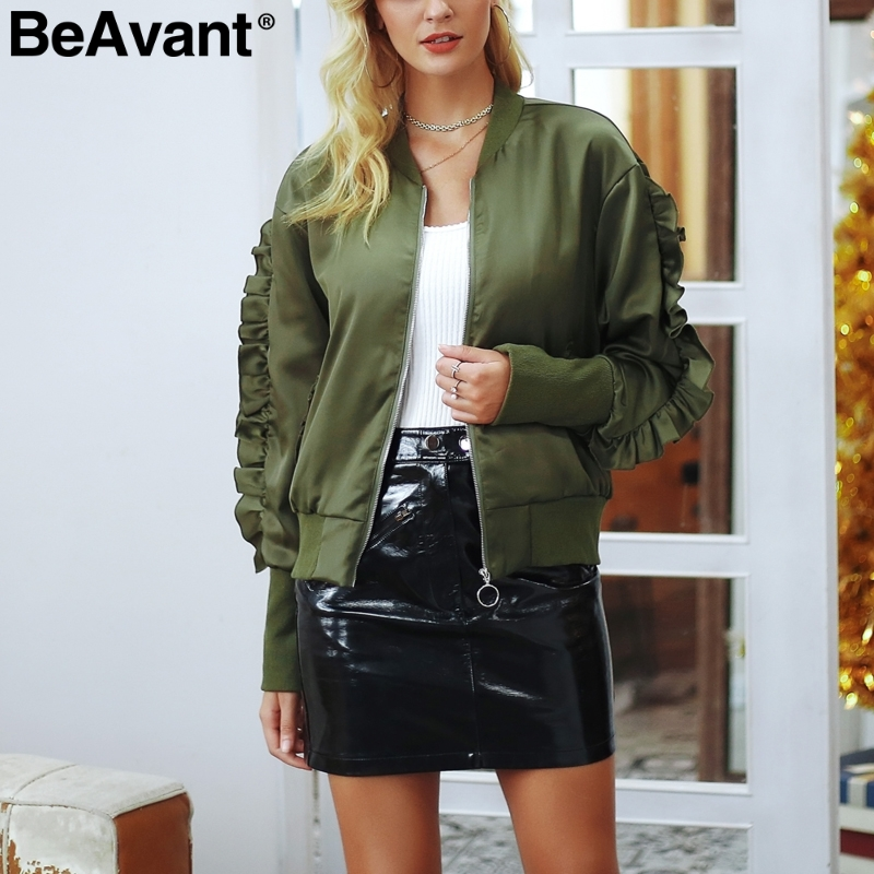 BeAvant Satin ruffle sleeve   basic     jacket   coat Army green baseball   jacket   women autumn Streetwear bomber casual coat outerwear
