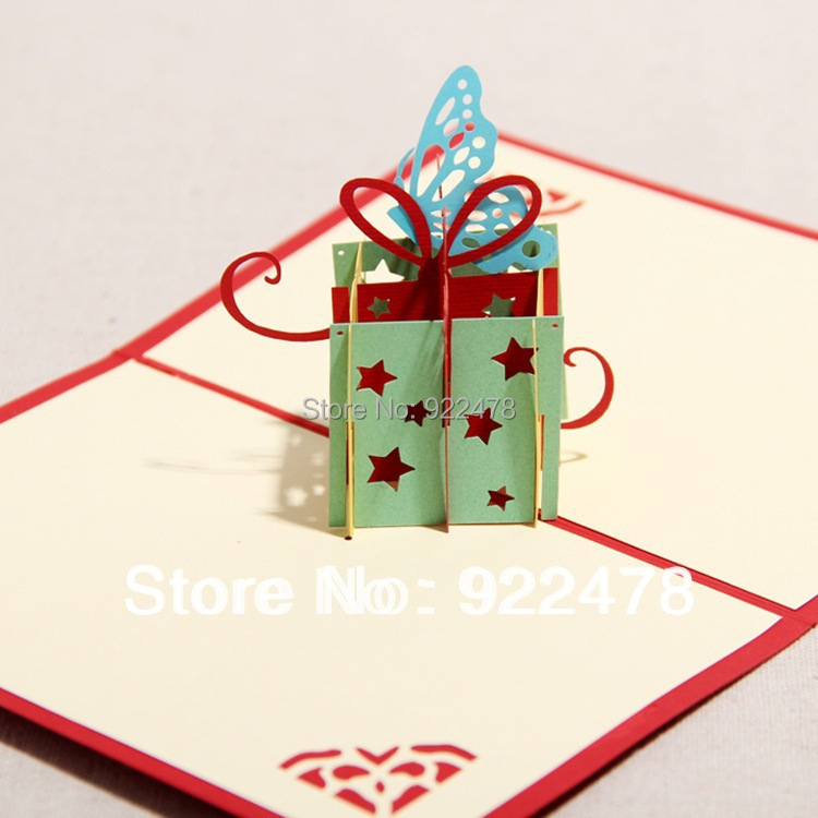 Novelty Stars Handmade DIY 3D Customized Gifts Birthday Cards Pop Up 10pcs Lot Free Shipping