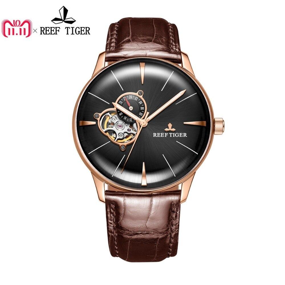 Nouveau Récif Tigre/RT De Luxe Rose D'or de Montres Hommes Automatique Mécanique Montres Tourbillon Montres avec Bracelet En Cuir Brun RGA823