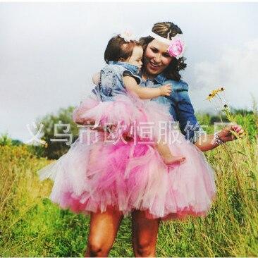 2015 Новый высокое качество летом стиль мать дочь мода красивая ручной юбки семья clothing