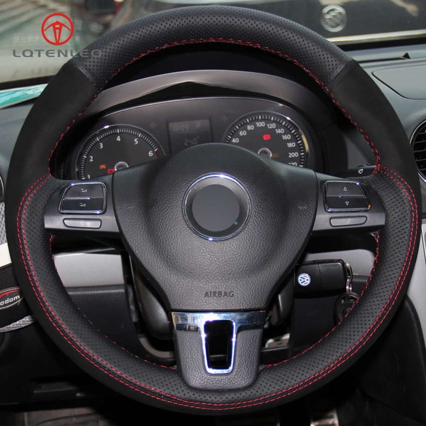 LQTENLEO Black Genuine Leather Suede Car Steering Wheel Cover for Volkswagen VW Tiguan Passat B7 Passat
