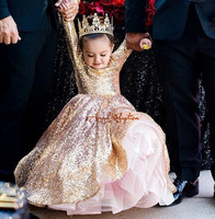 Glitter long sleeves golden sequins ball gown puffy girl pageant dresses little princess 1st birthday party gown for photoshoot