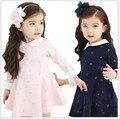 Versão coreana Novas Crianças Meninas Moda Inverno Vestido de Cashmere Engrossado Algodão Dot