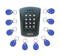 10 stks Sleutelaanhangers Gratis + Grijs V2000 + 125 KHz Deur RFID Keypad Proximity Kaartlezer Access Controller systeem