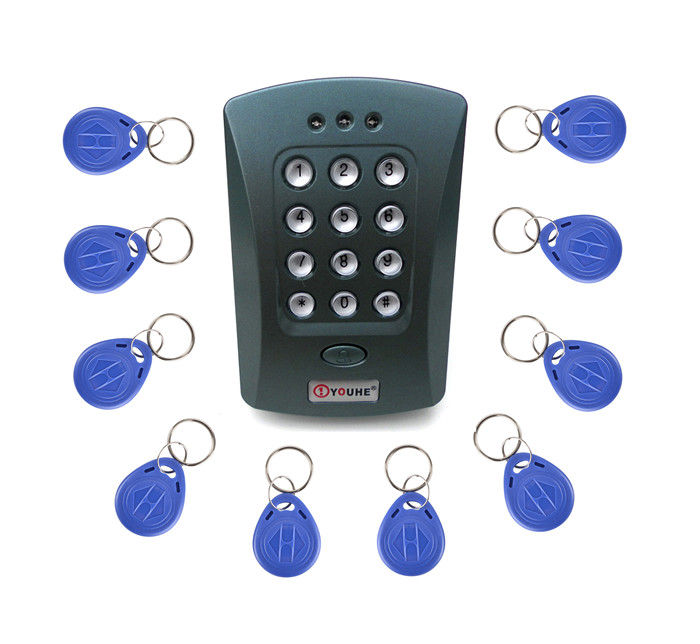 10pcs Key Fobs Free + Gray V2000+125KHz Door RFID Keypad Proximity ID Card Reader Access Controller System diysecur 50pcs lot 125khz rfid card key fobs door key for access control system rfid reader use red